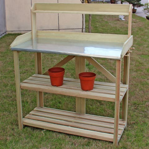 Costway Outdoor Garden Wooden Potting Work Bench Station Planting