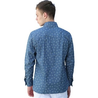 Men Long Sleeves Anchor Slim Fit Denim Button Up Shirt