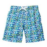 Azul Little Boys Green Blue Kites Print Drawstring Tie Swimwear Shorts