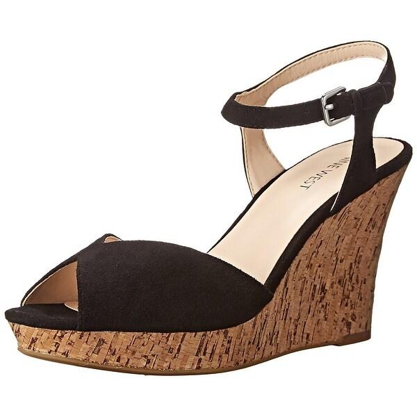 Nine West Womens BIG EASY Leather Open Toe Casual Platform Sandals