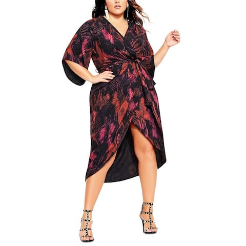 City Chic Women's Trendy Plus Size Garnet Slither Dress Bright Red Size 20W