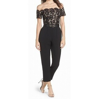 Eliza J NEW Black Women's Size 4 Off-Shoulder Belted Lace Jumpsuit