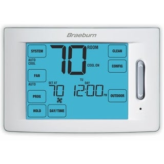 "Braeburn 6300 Touchscreen 5/2 Programmable Thermostat with 12"" Square Inch Area Display and 4 Stage Heating / 2 Stage Cooling"
