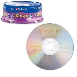 Verbatim Dvd+R Dl Azo 8.5Gb 8X-10X Branded Double Layer Recordable Disc, 20-Disc Spindle 95310 https://ak1.ostkcdn.com/images/products/is/images/direct/0d5d7d3e8a3521093b421aa66d477bc441a1fa11/Verbatim-Dvd%2BR-Dl-Azo-8.5Gb-8X-10X-Branded-Double-Layer-Recordable-Disc%2C-20-Disc-Spindle-95310.jpg?impolicy=medium
