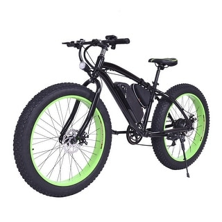 Costway Electric Fat Tire Bike Mountain Snow Bicycle E-Bike Lithium Battery 7 Speed 350W