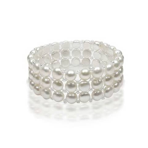 Wide White Flat Button Freshwater Cultured Pearl Triple Strand Stretch Bracelet For Women For Teen