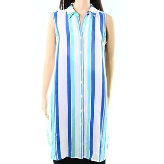 Vince Camuto NEW Blue Womens Size Small S Striped Collar Shirt Dress