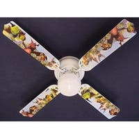 Soccer Baseball Football Sports Print Blades 42in Ceiling Fan Light Kit - Multi