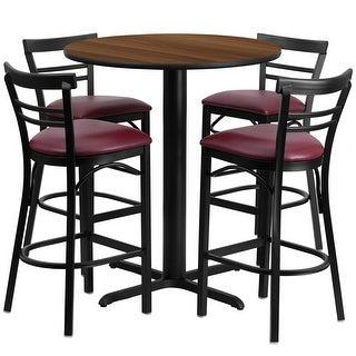 "Dyersburg 5pcs Table Set Round 24"" Walnut X-Base, Burgundy Barstool"