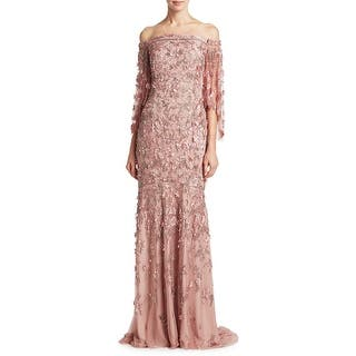 Theia Embellished Off Shoulder Evening Gown Dress Vintage Rose 9be81affc