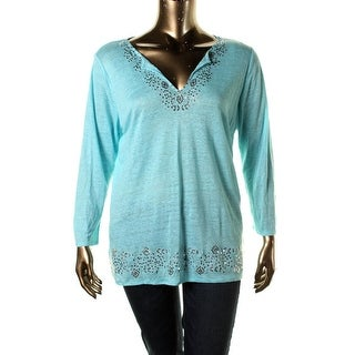 Moon & Meadow Womens Linen Embellished Pullover Sweater - M