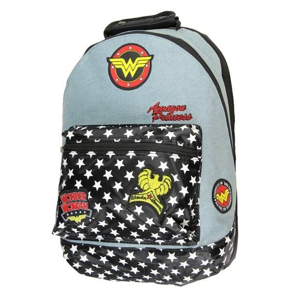 4559e3603b86 Shop Official Wonder Woman Denim Backpack w/ Patches Comic Book ...