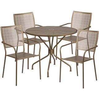 Westbury Round 35.25'' Gold Indoor-Outdoor Steel Table Set w/4 Square Back Chairs for Restaurant/Bar/Pub/Patio