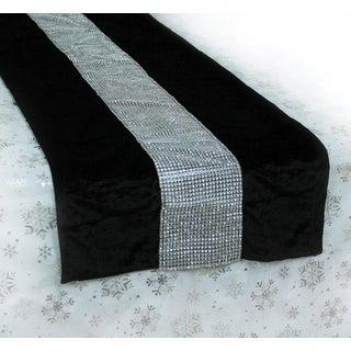 """68"""" Black and Silver Velvet Bejeweled Christmas Table Runner"""