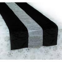 """68"""" Black and Silver Velveteen Bejeweled Christmas Table Runner"""