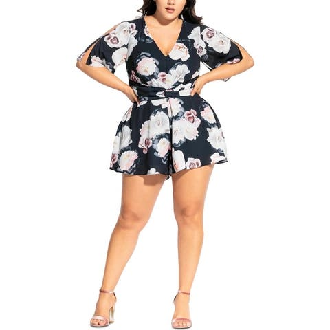 City Chic Womens Plus Romper Floral V-Neck - Austin Floral