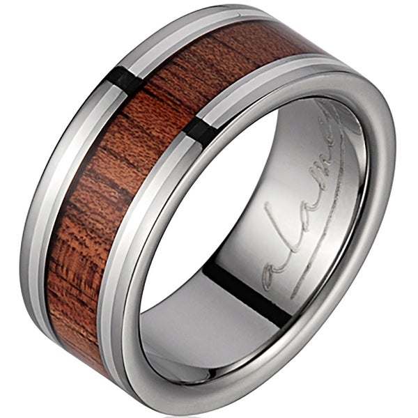 Titanium Wedding Band With Koa Wood Inlay & Silver Inlays 8mm