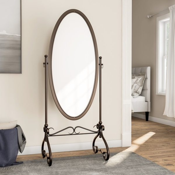 Linon Angelica 26 x 63-inch Metal Oval Cheval Mirror. Opens flyout.