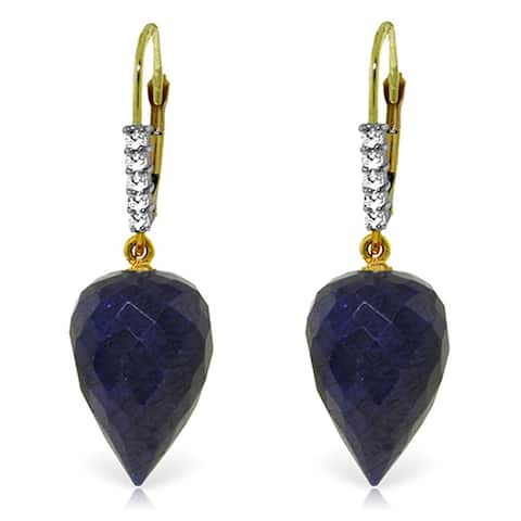 25.95 Carat 14K Solid Gold Drop Briolette Sapphire Diamond Earrings