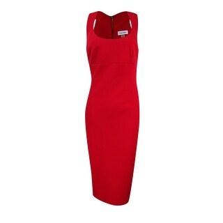 Calvin Klein Women's Scoop-Neck Crepe Sheath Dress - Red - 8