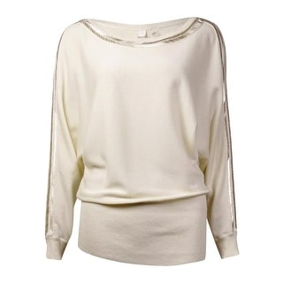 NY Collection Women's Beaded Cold-Shoulder Dolman Sweater
