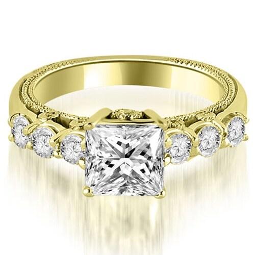 1.50 cttw. 14K Yellow Gold Princess and Round Cut Diamond Engagement Ring,HI,SI1-2