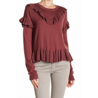 Abound NEW Burgundy Red Womens Size XS Ruffled Trim Pullover Sweater