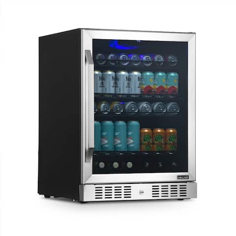"""NewAir 24"""" Built-in or Freestanding 177 Can Beverage Fridge in Stainless Steel with Precision Digital Thermostat"""