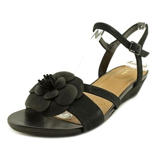 Clarks Parram Stella Women  Open Toe Leather Black Wedge Sandal