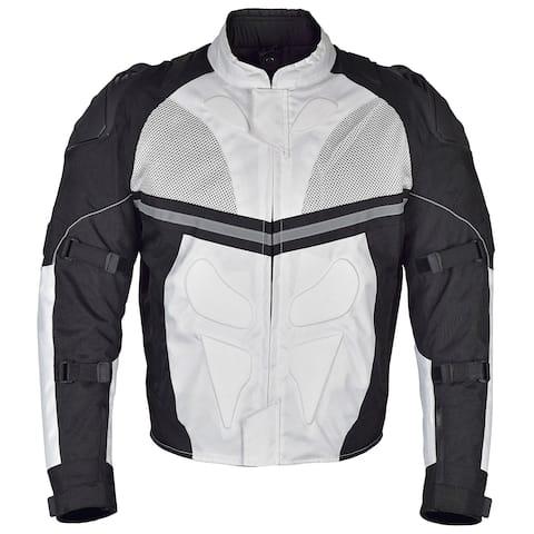Men Motorcycle Textile Multi Season Jacket White Black MBJ068