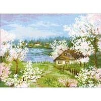 """9.5""""X7"""" 14 Count - Apple Blossoms Counted Cross Stitch Kit"""