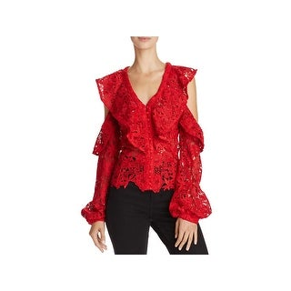 Bardot Womens Pullover Top Lace Cold Shoulder
