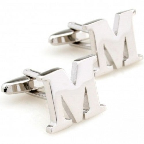 Letter M Alphabet Initial Cufflinks