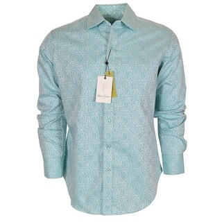 Robert Graham Turquoise WINDSOR Paisley Button Down Sports Dress Shirt 3XL