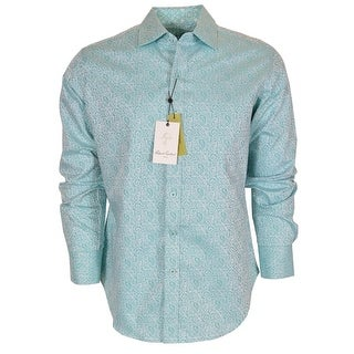 Robert Graham Turquoise WINDSOR Paisley Button Down Sports Dress Shirt 4XL