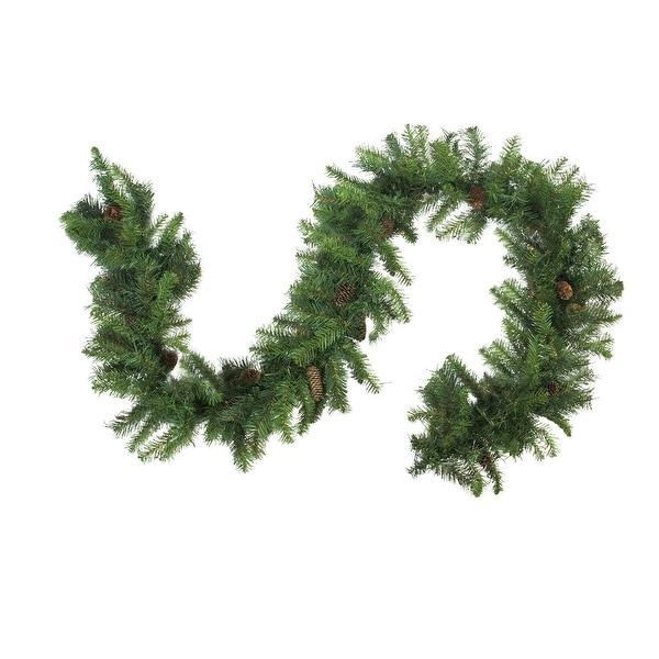 "9' x 14"" Dakota Red Pine Artificial Christmas Garland with Pine Cones - Unlit - green"