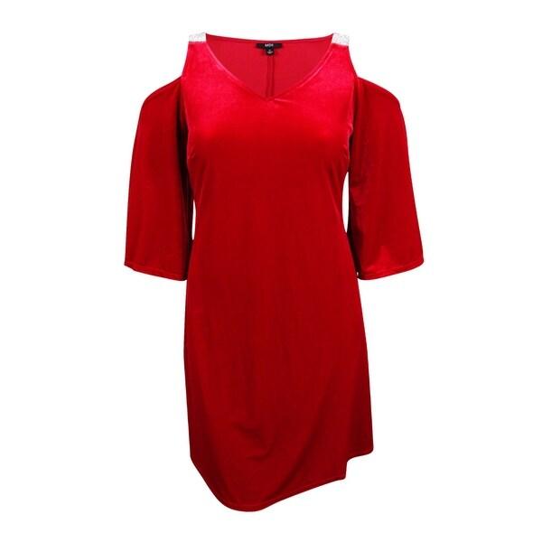 d5dce5ef1c4f Shop MSK Women's Embellished Velvet Cold-Shoulder Dress (8, Lipstick Red) -  Lipstick Red - 8 - On Sale - Free Shipping On Orders Over $45 - Overstock -  ...