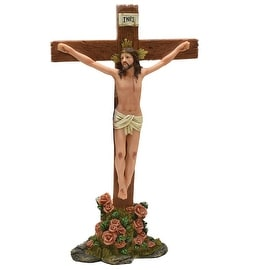 """14"""" Religious Inspirational """"INRI"""" Jesus on Crucifix with Roses Christmas Table Top Decoration"""