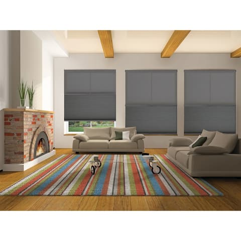"""BlindsAvenue Cordless Day/Night Cellular Honeycomb Shade, 9/16"""" Single Cell, Anthracite"""