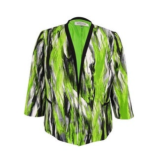 Kasper Women's Plus Size Printed Twill Jacket - keylime multi