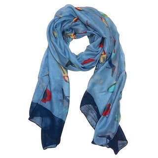 Elegant Women Bird Print Soft Long Scarf Wrap Shawl - 73 inches x 35 inches