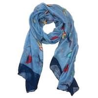 Elegant Women Bird Print Soft Long Scarf Wrap Shawl - 73 inches x 35 inches