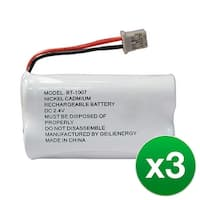 Replacement Battery For Uniden CEZAI2998 Cordless Phones - BT1007 (600mAh, 2.4V, Ni-MH) - 3 Pack