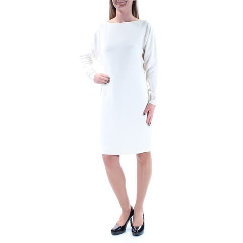 43e54c04c6f82 RALPH LAUREN Womens White Cut Out Long Sleeve Boat Neck Knee Length Shift Formal  Dress Size