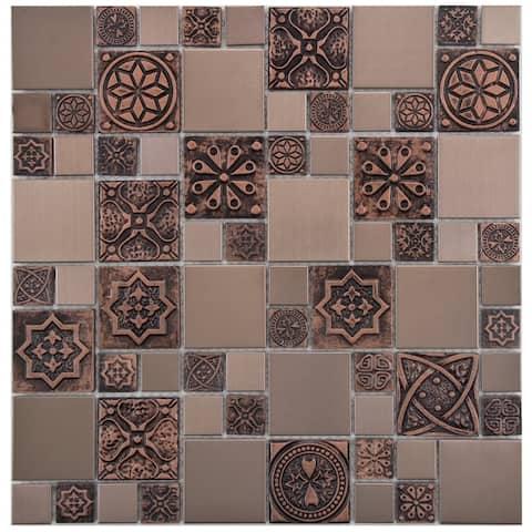 "SomerTile Meta Versailles Copper 11.75"" x 11.75"" Stainless Steel Metal Over Ceramic Mosaic Tile"