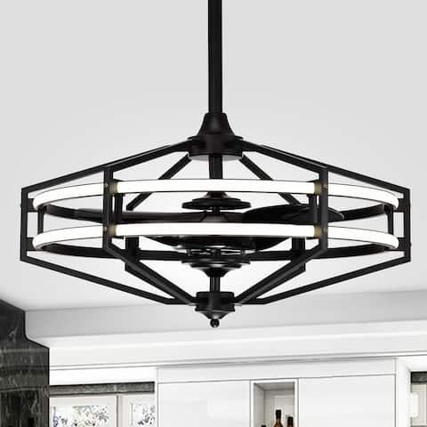 Hamza Matte Black 28-Inch Reversible 3-Blade LED Fandelier Ceiling Fan with Remote
