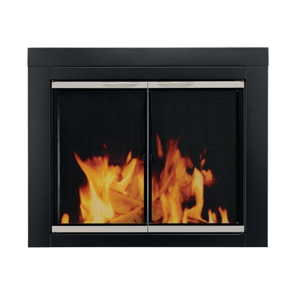 Pleasant Hearth AP-1130 Alsip Cabinet Style Fireplace Screen and Glass Doors, Small - Black and Sunlight Nickel Powder Coated