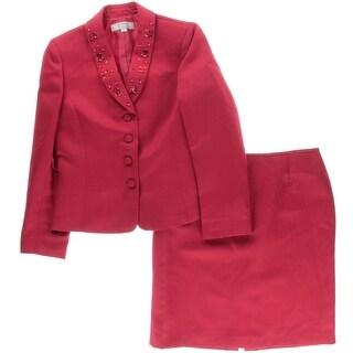 Tahari ASL Womens Cindy Textured 2PC Skirt Suit