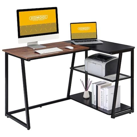 HOMOOI L Shaped Computer Desk with Storage Shelf Corner Desk Workstation