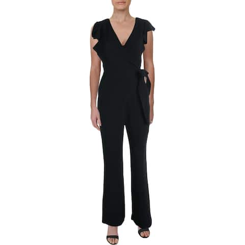 A.L.C. Womens Wilder Jumpsuit Flutter Sleeve Stretch - Black - 0